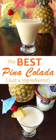 The BEST Dairy Free Pina Colada Recipe - just 4 all-natural ingredients for a sweet vegan cocktail (with virgin option) (Best Food Dairy Free) Pins Colada Recipe, Pina Colada Recipe Non Alcoholic, Alcohol Recipes, Drink Recipes, Drinks Alcohol, Alcoholic Beverages, Shake Recipes, Cupcake Recipes, Gourmet