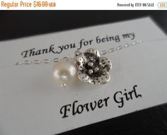 ON-SALE SALE  Flower and Pearl Necklace by weddingbellsdesigns