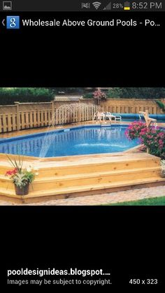 this is nice and simple, maybe a bit darker stain on the wood would look nicer. Above Ground Pool, In Ground Pools, Beautiful Pools, Beautiful Places, Pool Ideas, Pool Houses, Outdoor Ideas, Garden Bridge, My Dream Home