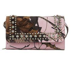 M&F Western® Mossy Oak Break-Up Pink Camouflage & Rhinestone Clutch