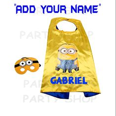 Minions custom cape and mask for kids,ADD your child's name,superhero capes. Darth Vader Cape, Custom Capes, Superman Cape, Felt Mask, Superhero Capes, Minion Birthday, Super Party, Super Hero Costumes, Party Shop