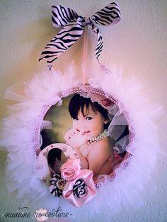 Items similar to Tutu Wreath Frame~ nursery decor, toddler, infant, newborn, baby shower gift on Etsy Tutu Wreath, Diy Wreath, Wreaths, Girl Nursery, Girl Room, Nursery Decor, Baby Crafts, Diy And Crafts, Tulle Crafts