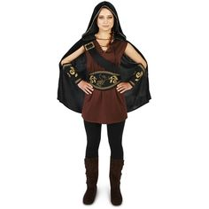 The Huntress Adult Costume ($29) ❤ liked on Polyvore featuring costumes, halloween costumes, adult costume, goddess halloween costume, gold costume, adult halloween costumes and goddess costume