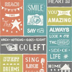Tiling On A Roll Typography Tile Wallpaper | Departments | DIY at B&Q