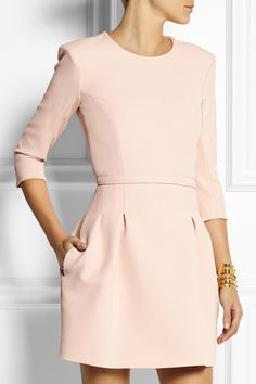blush long sleeve fit and flare dress