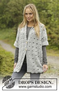 """Silver Rain - Crochet DROPS jacket with seamless sleeves and wave pattern in """"Merino Extra Fine"""". Sizes S/M - XXXL. - Free pattern by DROPS Design"""