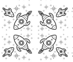 Color your own rockets fabric by kfrogb on Spoonflower - custom fabric