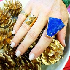 Janna Conner Gold Sasa Ring and Lapis Unice Ring. Retailing for $135 to $155 at jannaconner.com!