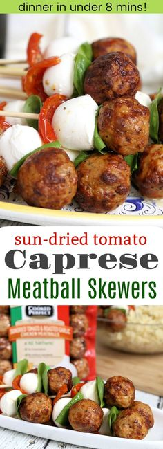 Sun-dried Tomato Caprese Chicken Meatball Skewers - add a simple pasta salad for quick and easy summer meal. These meatball skewers also make a great appetizer! Made with Cooked Perfect Fresh Meatballs AD