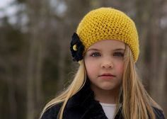 Yellow hat with Black flower and accent bead by KamiHats on Etsy