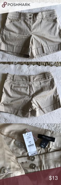 White House Black Market shorts WHBM tan shorts NWT SIZE 6  I just bought these on PM and they're a size too big. They are beautiful shorts with a subtle sheen. Cotton and Spandex so they have a little give for extreme comfort. My favorite shorts and as soon as I sell these, I'll find another pair in my size 😜 White House Black Market Shorts