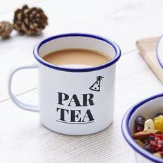 Sophia Victoria Joy Par Tea Enamel Mug (£15) ❤ liked on Polyvore featuring home, kitchen & dining, drinkware, tea mug, enamel mug and birthday mugs