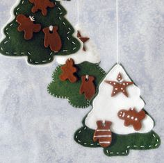 Snowy felt tree ornaments.