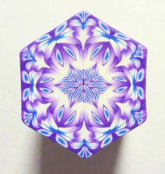 LARGE Blue Purple and White Hexagon Polymer Clay by ClaybyKerm,