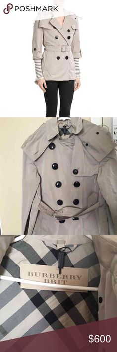 Burberry Brit Women's Authentic Burberry Brit short trench coat Retails for 800 Worn once, was to small for me Still has the Burberry tag with string without the tag unfortunately Looks wrinkled because it's been stored in my closet but it's normal for that type of coat. Message me with info or offers!! Thanks!! SELLING ON MECARI AND TRADESY FOR LESS Burberry Jackets & Coats Trench Coats