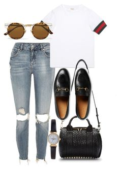 """Untitled #4277"" by olivia-mr ❤ liked on Polyvore featuring River Island, Gucci, Bottega Veneta, Alexander Wang and Limit"