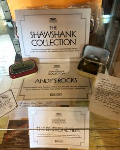 """Zachary Pincus-Roth on Twitter: """"The prison (@OSReformatory) has a Shawshank museum with artifacts from the making of the movie, plus a gift shop… """" The Shawshank Redemption, New Girl, Prison, All About Time, Museum, Movie, Lettering, Writing, Twitter"""