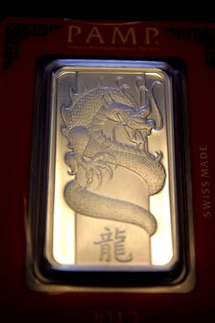 1 oz 2012 PAMP Suisse Year of the Dragon Silver Wafer Bar #dragonbar #silverbar #finesilver #pampsuisse #dragon