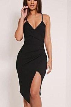 0e7a35673f9 Black V-Neck Spaghetti Strap Slit Front Bodycon Dress