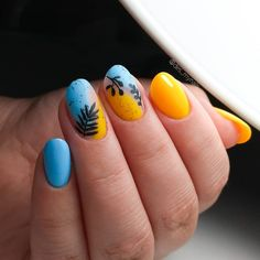 Russian nail art ideas 💡 yellow and blue nails with stamping | des_mynails Nails Design, Nail Art Designs, Blue Nails, Stamping, Art Ideas, Gemstones, Yellow, Beauty, Gems