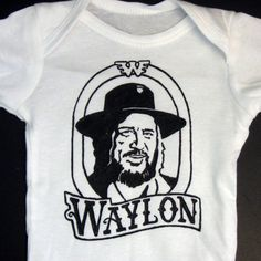 Hand Painted Waylon Jennings Baby Bodysuit or Kid's by daisylouise