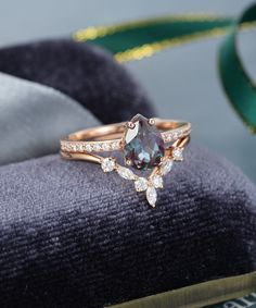 Alexandrite engagement ring set vintage Rose gold engagement ring for women Pear shaped Marquise Moissanite wedding ring Bridal Jewelry – diamond rings vintage Pear Shaped Engagement Rings, Beautiful Engagement Rings, Rose Gold Engagement Ring, Engagement Ring Settings, Vintage Engagement Rings, Diamond Wedding Bands, Vintage Rings, Halo Engagement, Teardrop Engagement Rings