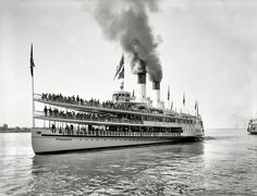 """Circa 1901. """"Sidewheeler Tashmoo."""" A popular excursion steamer, which plied the Detroit River between Detroit and Port Huron."""