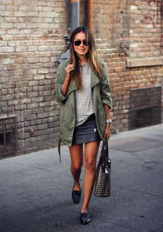 basics by sincerelyjules.com- army jacket grey tee loafers ray bans