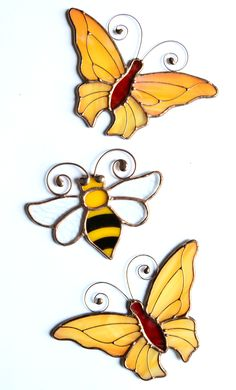 Stained glass suncatchers, glass art, stained glass bee, stained glass butterfly, garden decor, home decor