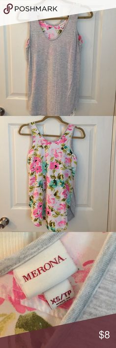 Merona floral & grey tank - size XS So. Flipping. Cute!!! Light grey jersey front with adorable floral print back. Rounded hem, grey jersey trim on neck and arms.  Super soft!! And the back material is so light, cool to the touch and flowy. Perfect warm-weather top. 😍 Colors on back are white with shades of rose pink, turquoise, teal and spring green. EUC - no pulls, snags, holes or pilling. Merona Tops Tank Tops
