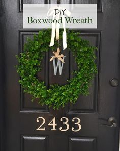 DIY (fake) Boxwood Wreath to spruce up your front door for spring!