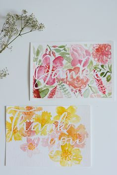 DIY: Dankeskarten mit Aquarell DIY: Thank you cards with watercolor – we love handmade Watercolor Flowers, Watercolor Paintings, Drawing Flowers, Baby Painting, Heart Diy, Craft Quotes, Mothers Day Quotes, Mother's Day Diy, Illustration
