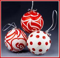 Merry & bright! DIY Fabric & Mod Podge Ornaments on CraftsnCoffee.com.