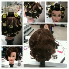 """start with on-base roller placement on top and sides of head. Slide rollers down to lower part of the head.  Comb-out; comb out in direction set was rolled. Try placing hair in a S-shaped pattern. The ends should be """"control-brushed """" under."""