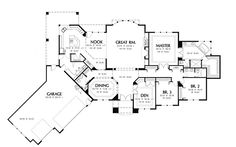 House Plans With 3 Car Garage Besides Ranch Style Rambler Home Plans
