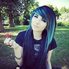 #pretty #emo #girl #red #flower #cool #hair #blue #black #cute #eyes... ❤ liked on Polyvore featuring beauty products
