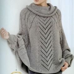 Poncho à manches longues femme gris tricot fait-main