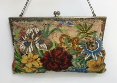 VINTAGE-STERLING-MICRO-GLASS-BEAD-PURSE-LARGE-FLOWERS-MULTI-COLOR