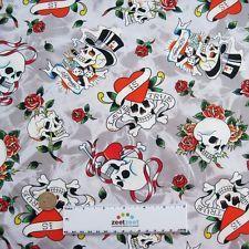ed hardy fabric in Fabric Crafts Ed Hardy Tattoos, Tossed, Fabric Crafts, Skulls, Cotton Fabric, Hearts, Yard, Grey, Gray
