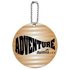 Adventure Awaits World Travel Fun Round Luggage ID Tag Card Suitcase CarryOn *** Click on the image for additional details. (Note:Amazon affiliate link)