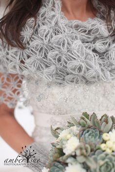 Wedding Shawl Shrug Gray Shawl Bridal Bolero Winter