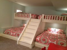 Girls bedroom storage - Custom made bunk beds Queen beds on top and bottom Outlets and lights by the head of each bed Bunk Bed Rooms, Bunk Beds With Stairs, Kids Bunk Beds, Bedrooms, Bunk Beds Built In, Loft Spaces, Small Spaces, Girls Bedroom Storage, Bunk Bed Designs