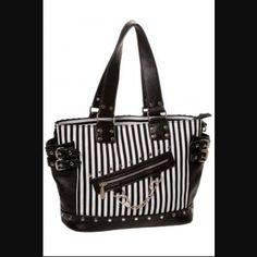 Black & White Stripe Handcuff Bag by Banned