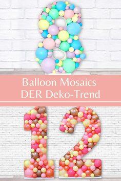 Den super Deko-Trend Ballon Mosaik aus den USA gibt es nun endlich auch bei uns! Ganz einfach zu Hause nachbasteln, alles was Du dafür benötigst schicken wir Dir ganz bequem in einer Box nach Hause! Unicorn Balloon, Party Decoration, Party In A Box, Diy Party, Super, Balloons, Beaded Necklace, Rainbow Balloons, Unicorn Party