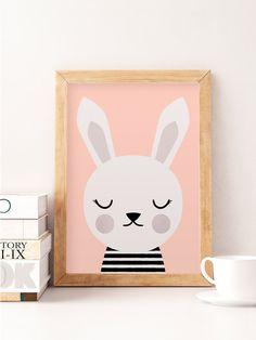 Cute rabbit, Little rabbit, Scandinavian nursery, Minimalist nursery, Pink nursery, Pink print, Safari print, Wall decor kids, Kids room art by NorseKids on Etsy https://www.etsy.com/listing/276997136/cute-rabbit-little-rabbit-scandinavian