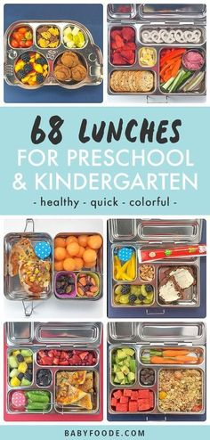 These 68 Preschool or Kindergarten School Lunch Ideas are great healthy and colorful lunches that are also easy to pack. You could also use these school lunch ideas for older kids, you will just have to pack more;). 13 weeks of school lunches that will sure to be a hit with your little one! #schoollunch #kindergarten #lunch Kids Packed Lunch, Healthy Lunches For Kids, Toddler Lunches, Lunch Snacks, Kids Meals, Healthy Snacks, Lunch Foods, Toddler Food, Packing School Lunches