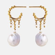 White Earrings, Pearl Earrings, Indian Summer, Gull, Baroque Pearls, Carat Gold, Jewelery, Karate, Handmade Jewelry