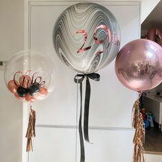 Rose gold balloons 30th balloons deco bubble tassels ribbon
