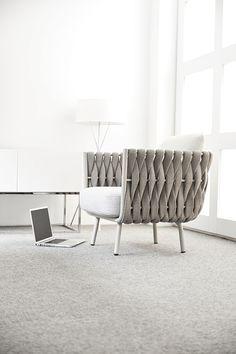 Frame: Powdercoated Stainless Steel. Braiding: Polyofine & Textilene. Pillows optional – sold separately. Low Chair, Club Chairs, Stainless Steel, Outdoor Furniture, Pillows, Living Room, Frame, Ideas, Design