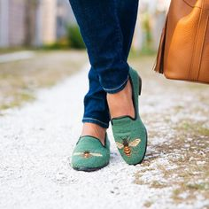 Sage Bee Needlepoint Loafers